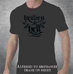 Heaven & Hell Flock All Black Shirt and Design
